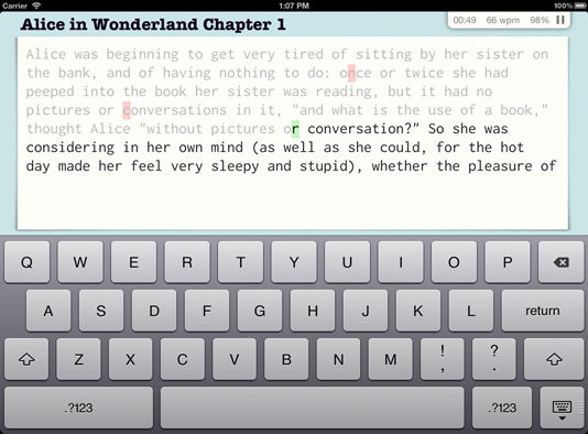 iPad typing trainer image